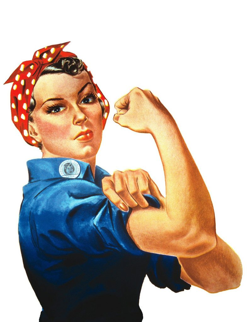 Frau mit Power und Energie, zeigt ihre Muckis,